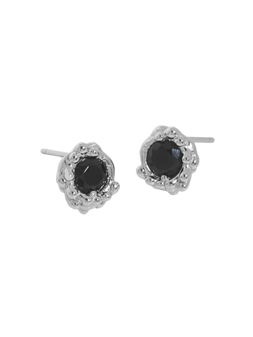 Platinum [with pure Tremella plug] 925 Sterling Silver Cubic Zirconia Geometric Hip Hop Stud Earring